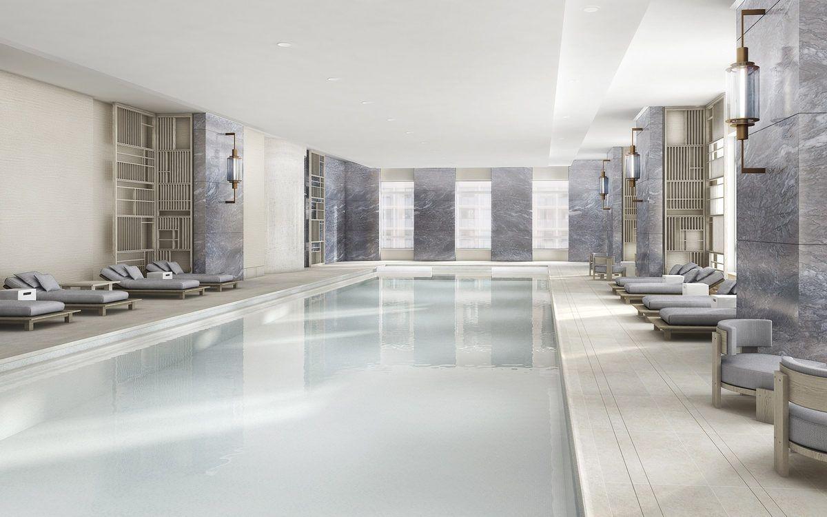 Long Awaited 30 Park Place Reveals Condo Interiors Luxury Swimming Pools Condo Interior Indoor Swimming