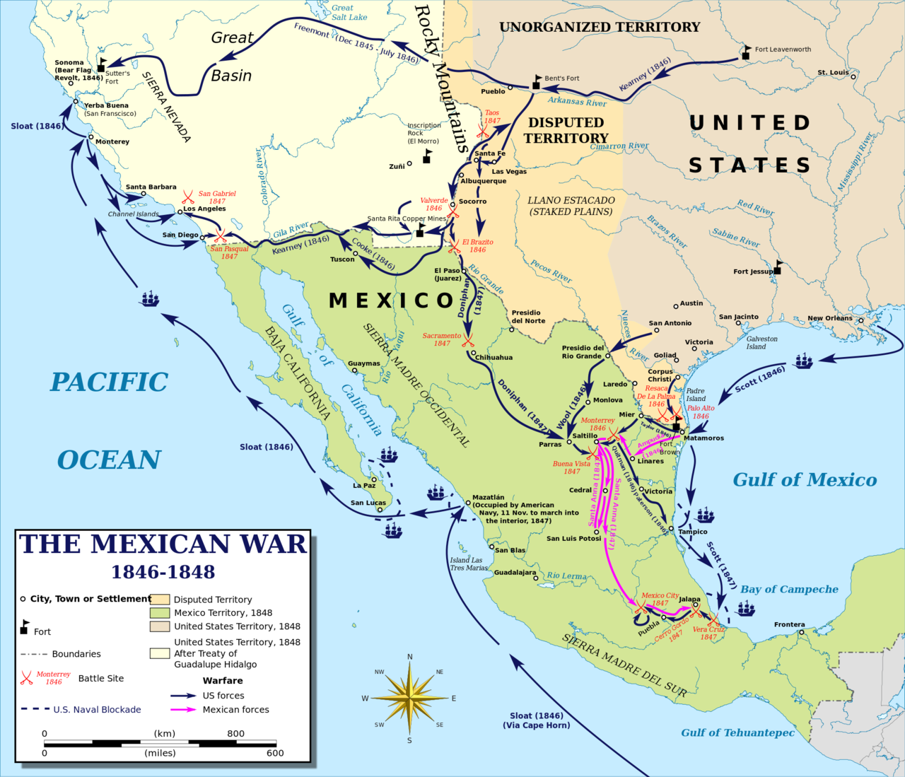Map 9f America.Map Of The Mexican American War 1846 1848 The Mexican American War