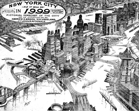 The History Of The Future Of Skyscrapers Thomas Nast 1881 Retro Futurism Futuristic City Future City