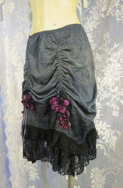 Flowered Gunmetal Up-Cycled Slip Skirt with Lace and by getjuliet