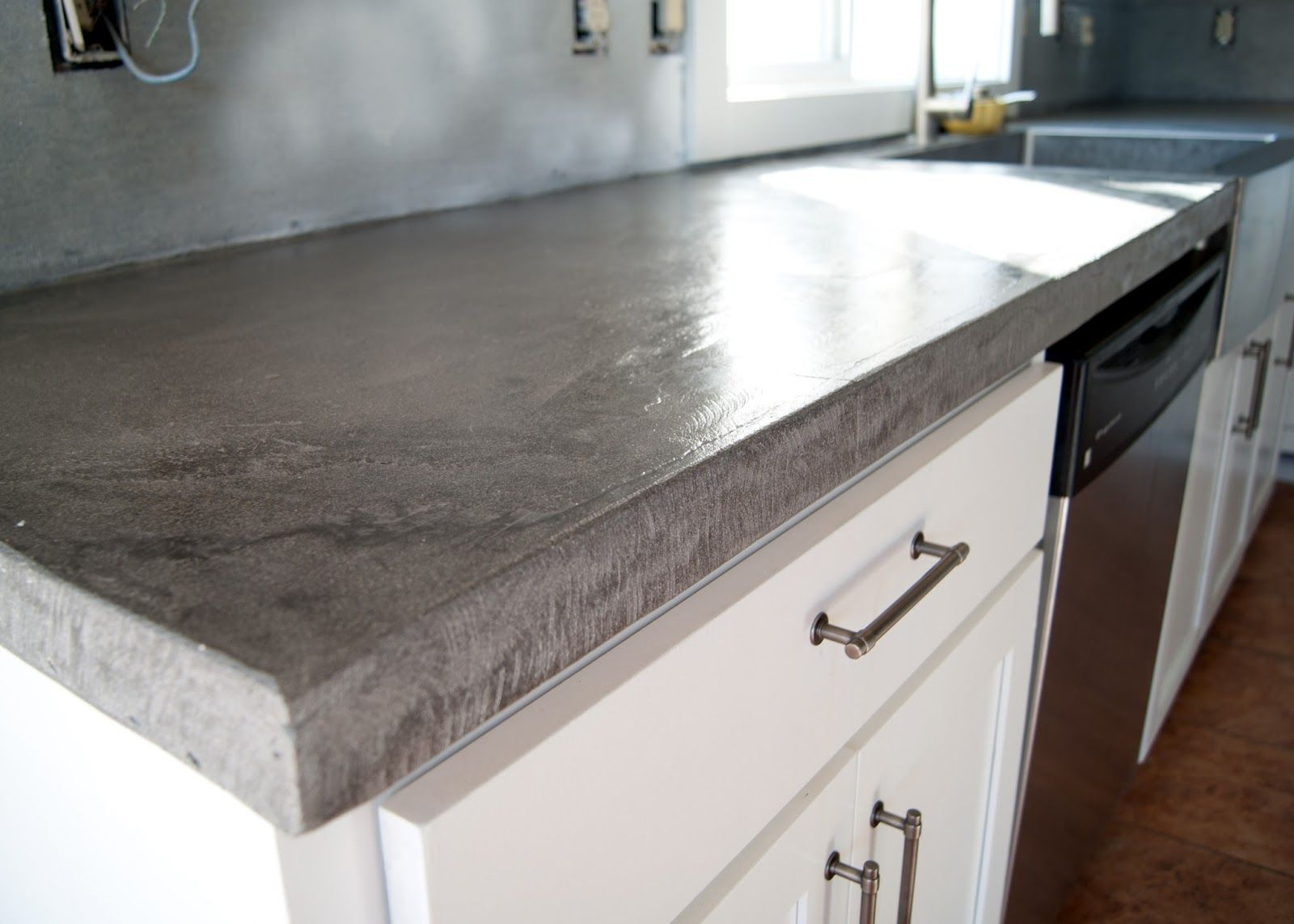 Diy Concrete Counters Poured Over Laminate Kitchen
