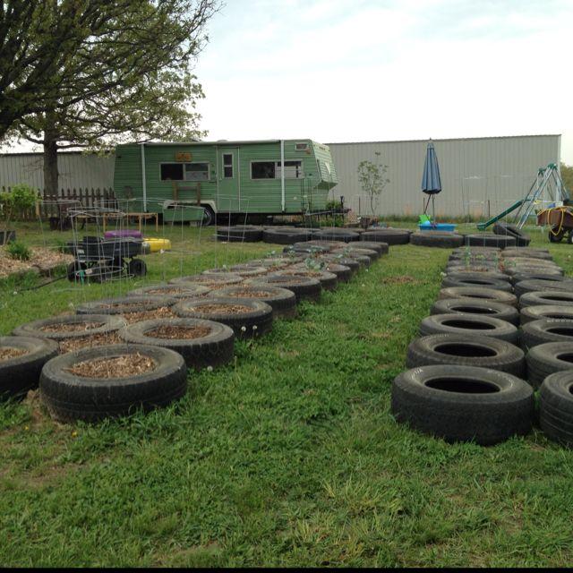 Vegetable Garden Of Tires Almost Complete Growing
