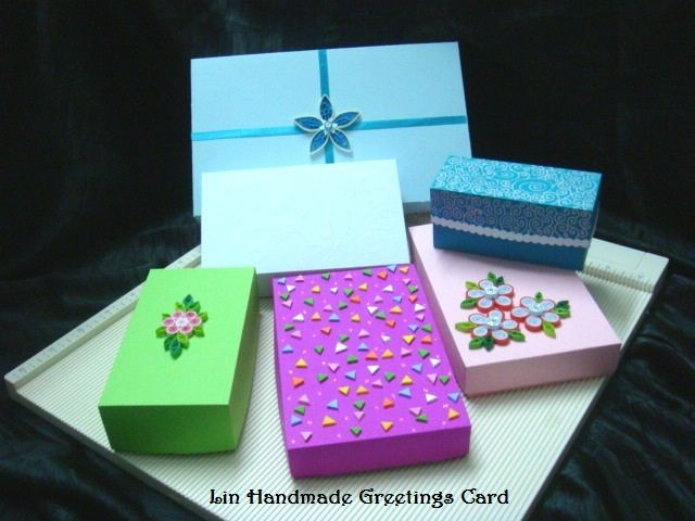 Variety shape of boxes that were handmade using the Martha Stewart's scoring board. :)