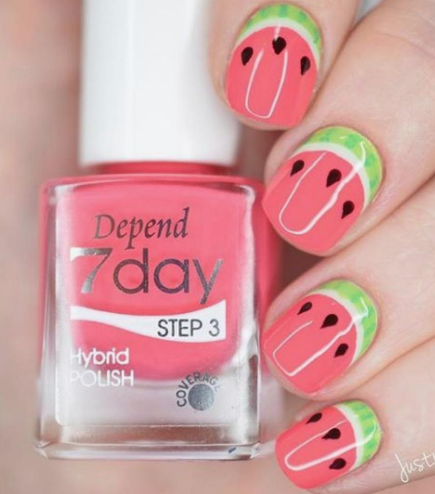 50 Beautiful Nail Art Ideas That Are Easy To Do At Home Watermelon Nails Gel Nail Art Designs Watermelon Nail Art