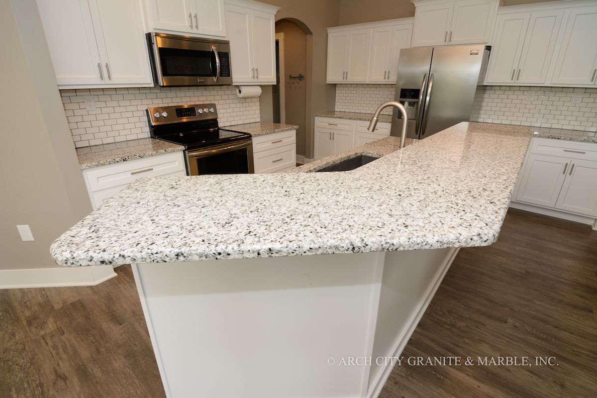 Luna Pearl Granite White Cabinets White Tile Backsplash Creating