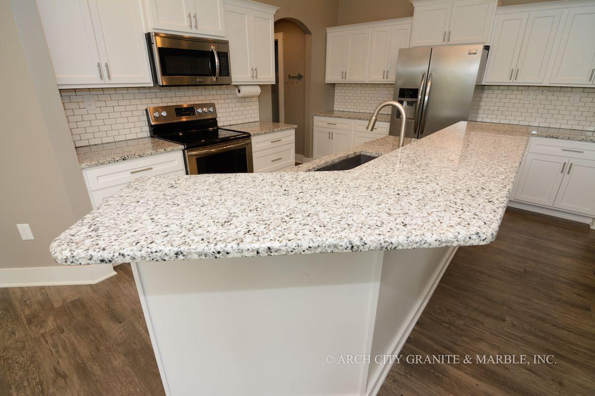 Luna Pearl Granite White Cabinets White Tile Backsplash Creating