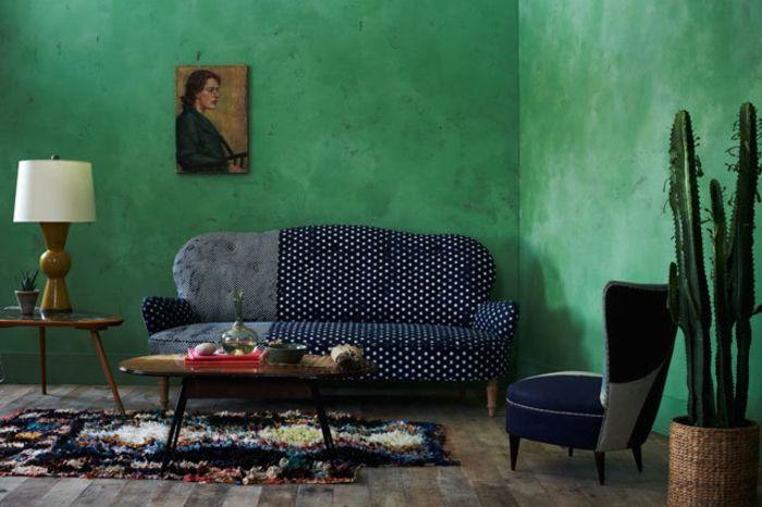 Wohnraumgestaltung Ideen , grüne Wandfarbe im Wohnzimmer - wandfarben wohnzimmer grun