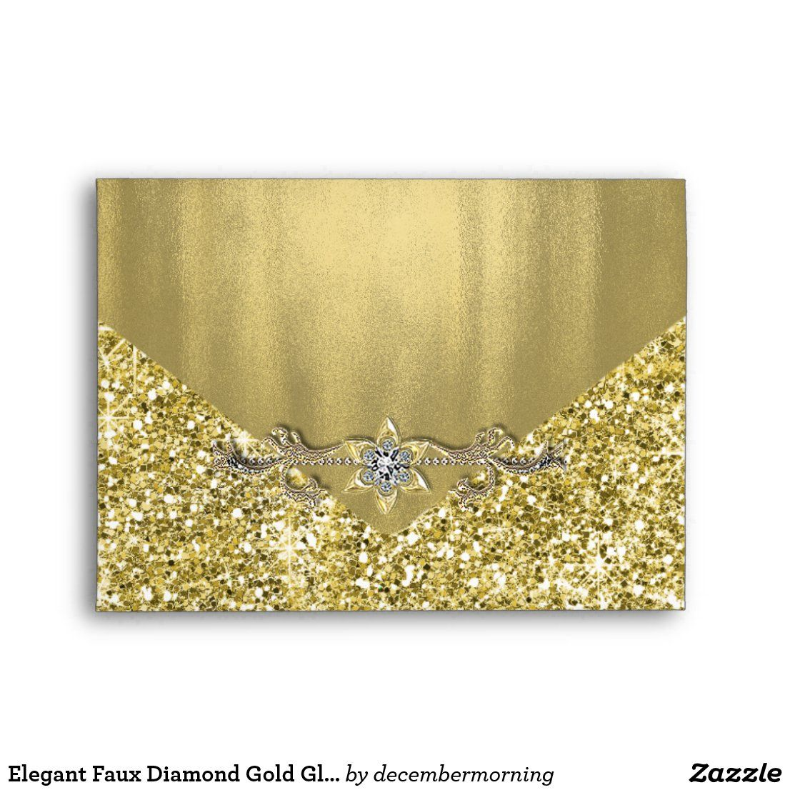 Elegant gold foil invitation and announcement special occasion envelope with beautiful printed diamond jewel gold glitter exterior and printed gold foil interior and flap. You can easily customize this gold card and invitation envelope for your needs. Add your return address to the back flap. This is a printed design with no real foil, glitter, jewels, etc.