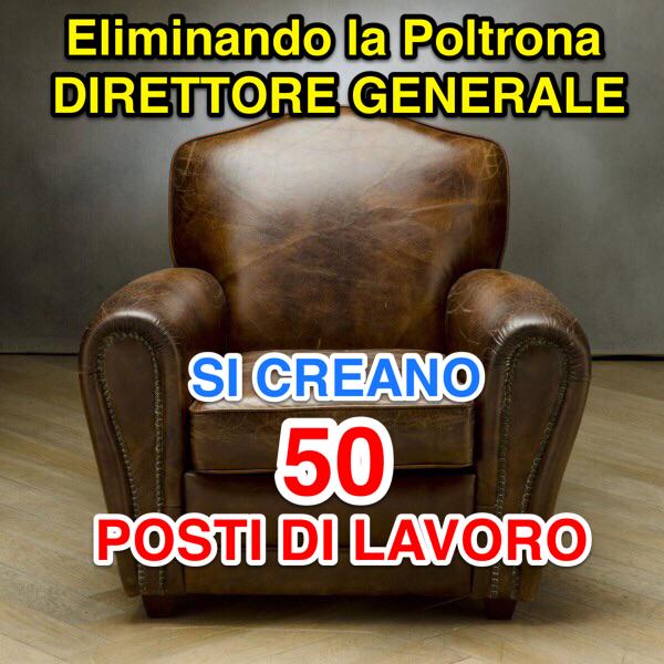 Perugia, 30 Ottobre 2017. Eliminare il Previsto Direttore Generale della Regione, Claudio Ricci: con il Risparmio (1 Milione €) si Possono Creare Almeno 50 Posti di Lavoro in 5 Anni.