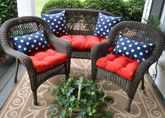 4th Of July Patriotic Wicker Cushion & Pillow 7 PC Set