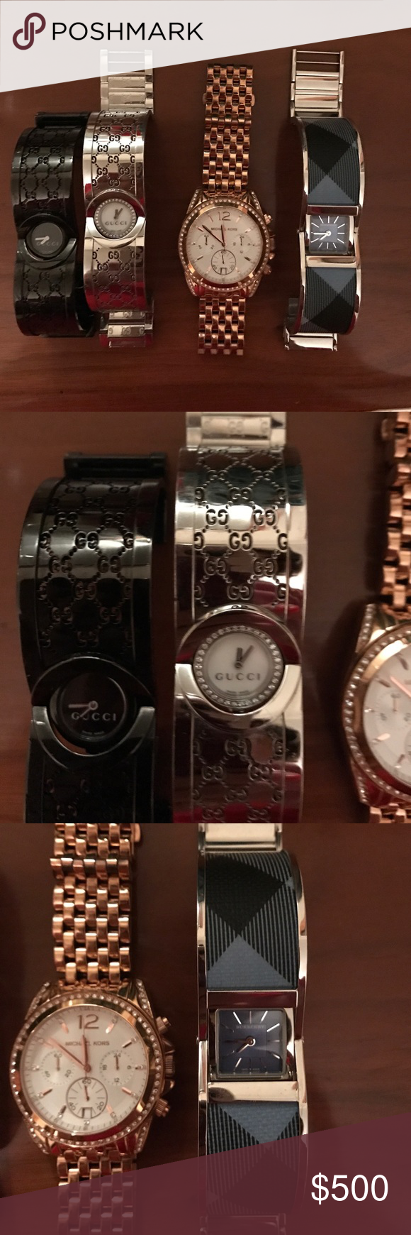 Gucci watches, Michael Kors and Burberry watches Authentic Gucci, Burberry and Michael Kors watches. May need batteries but in excellent condition! Wanting to sell as a group, if priced individually may cost more! Watches brand new cost anywhere from 400-1200 apiece. I don't have links. Gucci Other