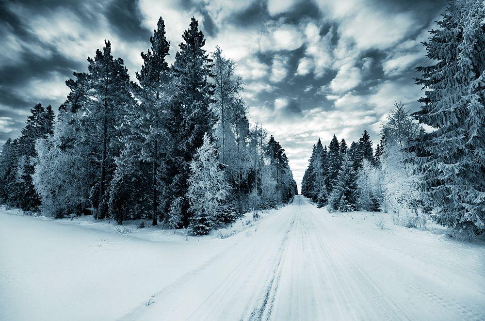 Talvi. Luonto maisema lumi - Suomi