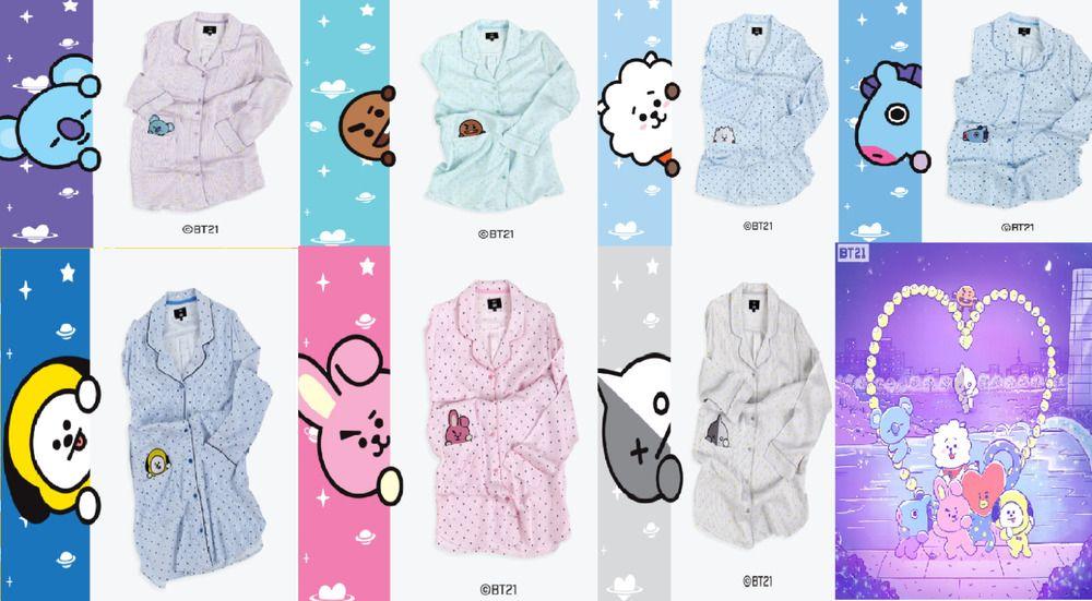 Bt21 Bts Kawaii Cartoon Cotton Pajama Sets K Pop Bangtan Boys Korean Style Fashion Love Yourself Answer V Rm Jin Rm Jin Jungkook Fashionable Patterns Men's Sleep & Lounge