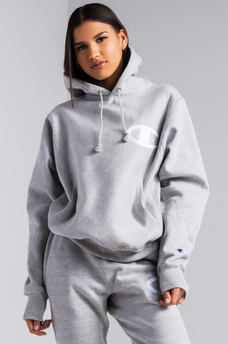 c4506a4cf Champion Reverse Weave Big C Stitched Patch Women's Hoodie in Oxford Grey,  Black