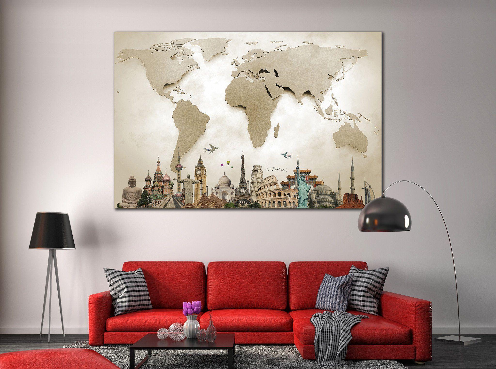Large world map canvas print zellart canvas arts wrapped