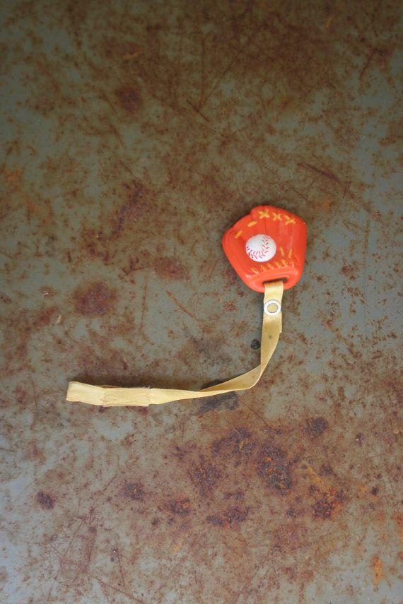 Vintage Baseball Mitt Pacifier Clip by vintapod on Etsy