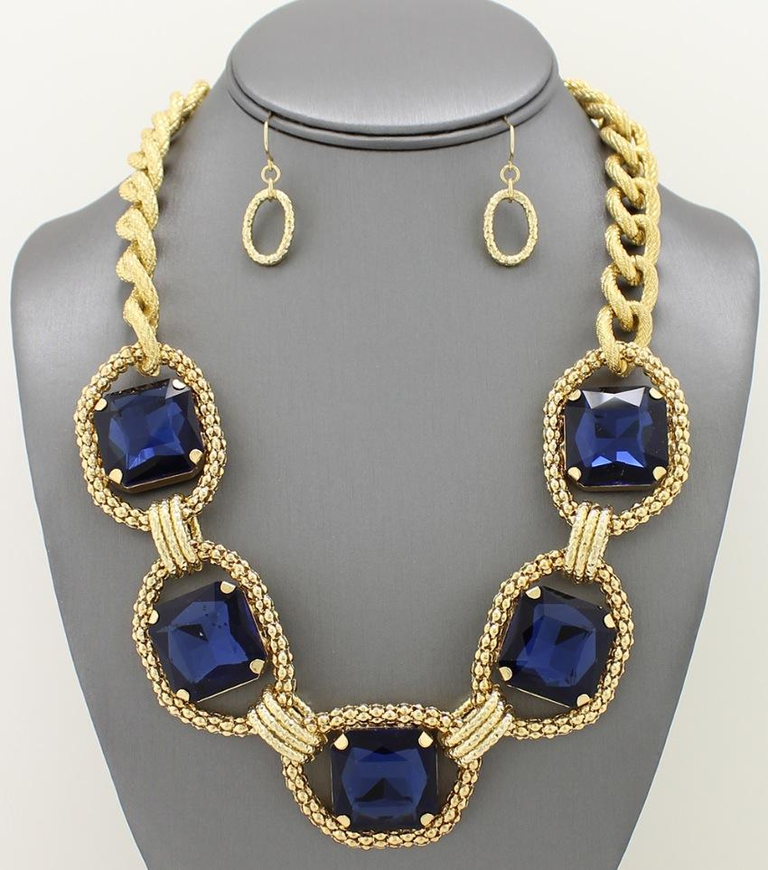 Square crystal chain necklace set crystals and products