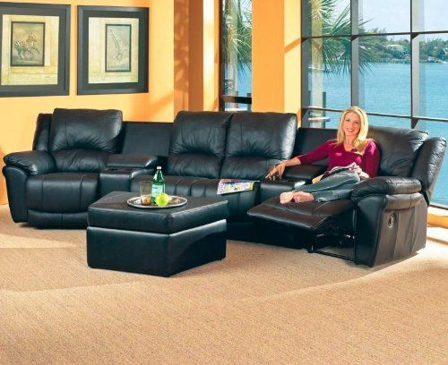 Teramo Black Leather Reclining Sectional Sofa Home Theater
