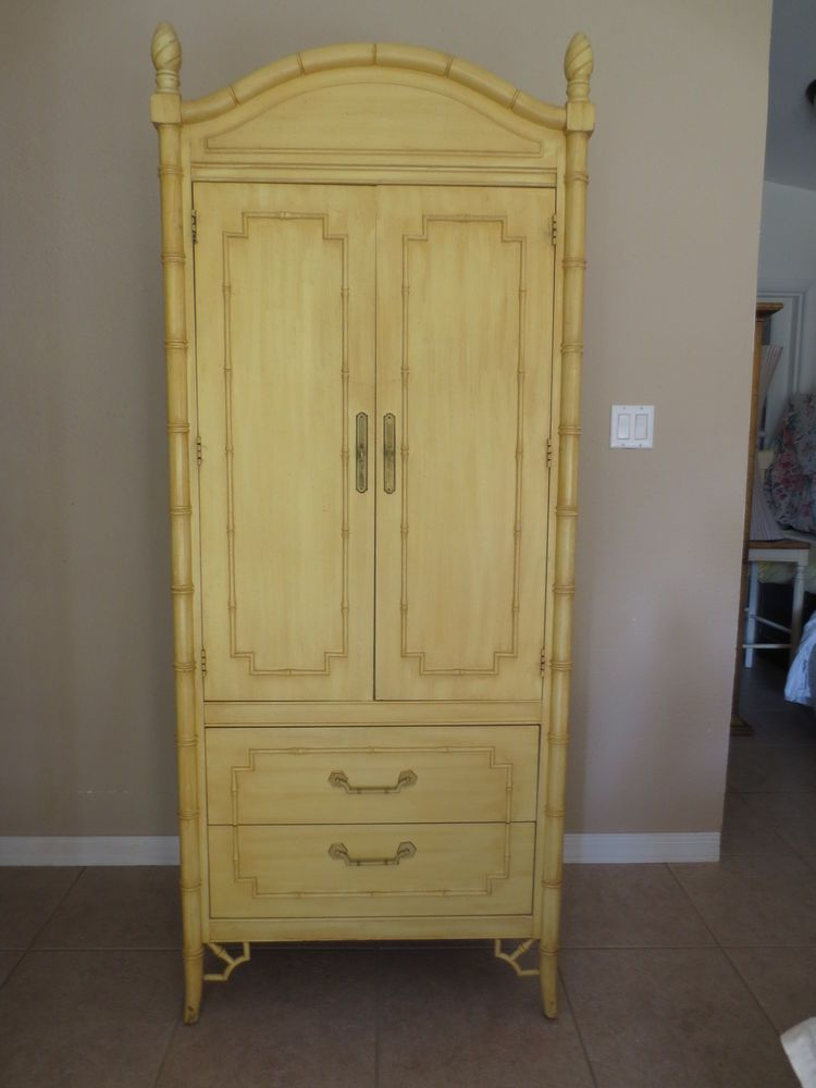 RARE Chinese Chippendale Faux Bamboo Armoire Thomasville Allegro Fretwork