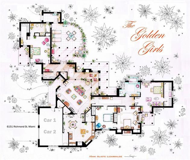 Floor plans of famous television shows spanish interior interiors and house