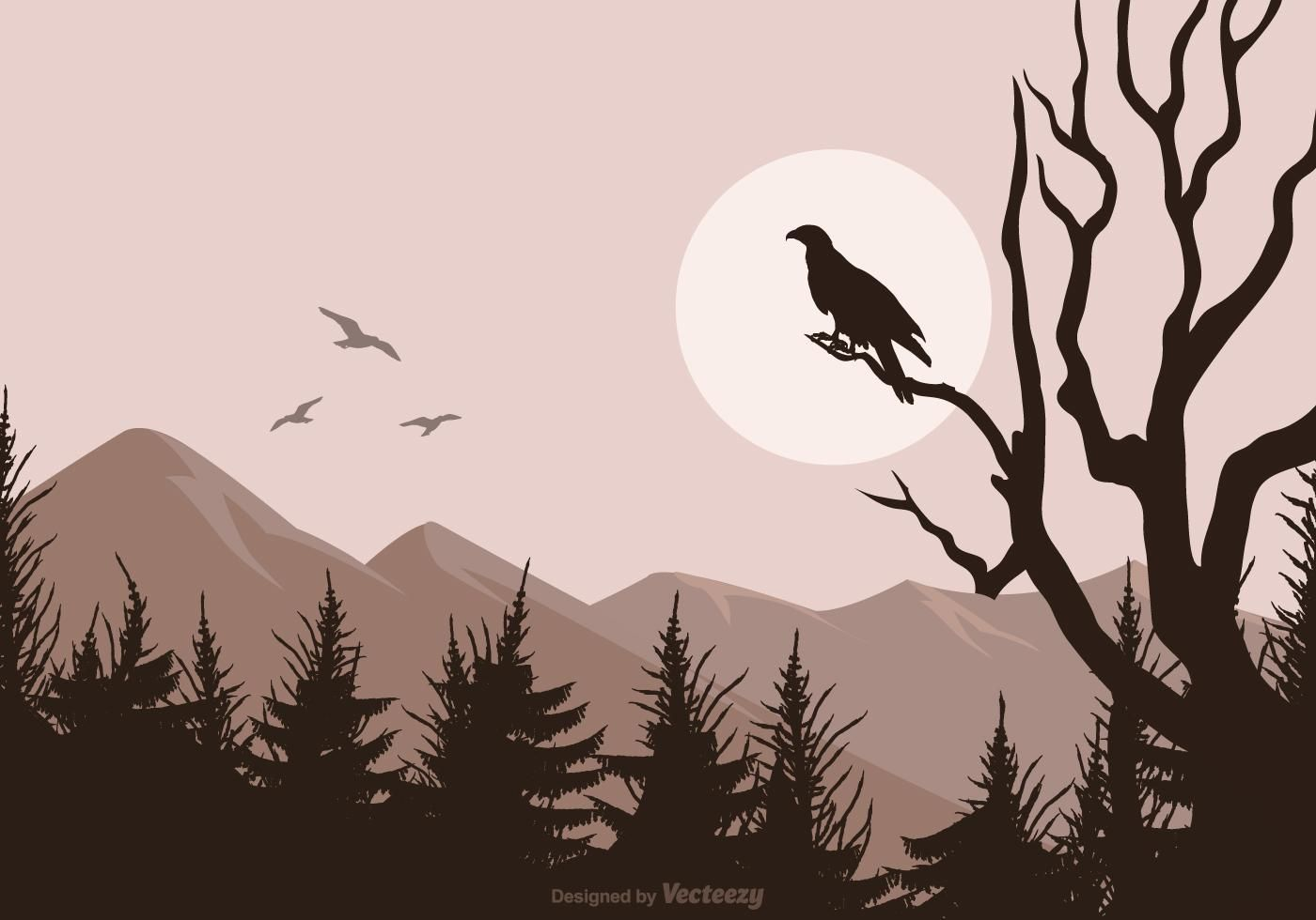Pubg Wallpaper Vector: Buzzard Silhouette Isolated On Vector Landscape Background