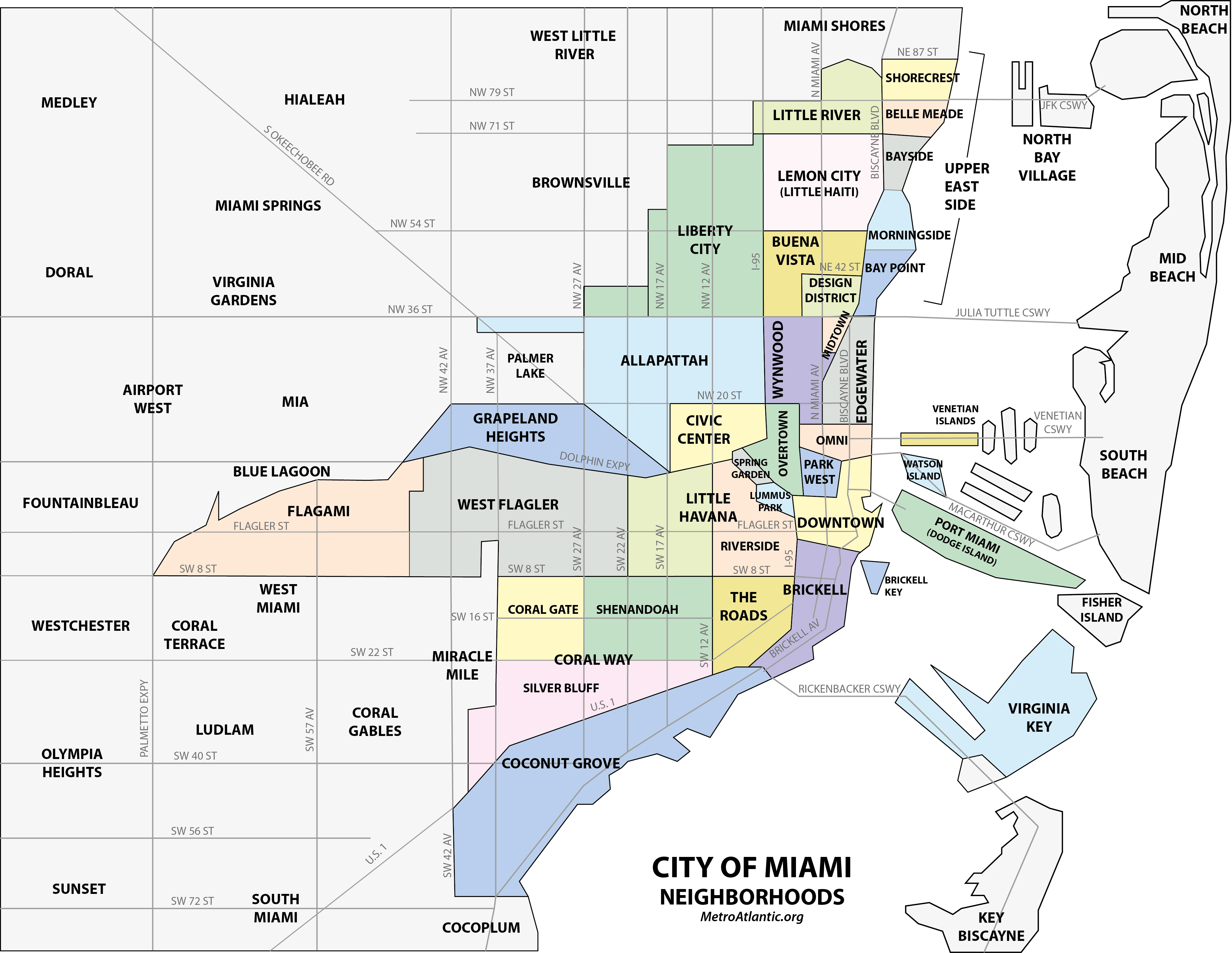 miami neighborhood map | miami map, downtown miami, the