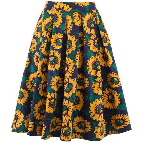 inverted pleat sunflower printed flared midi skirt 26 liked on polyvore featuring skirts. Black Bedroom Furniture Sets. Home Design Ideas