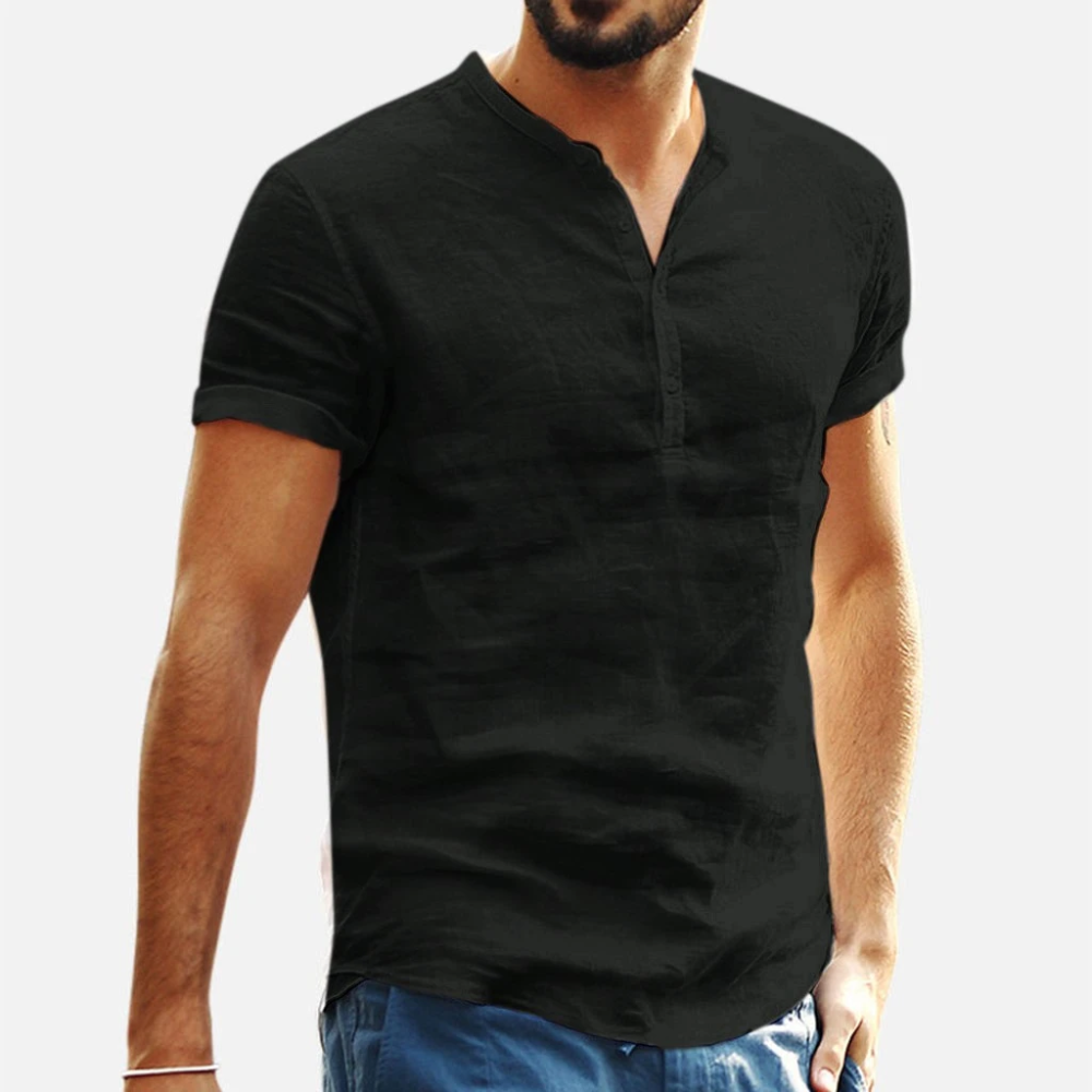 Men Cotton Linen Shirt 2019 New Summer Loose Short Sleeve Button Down Henley Retro Casual Tops Blouse