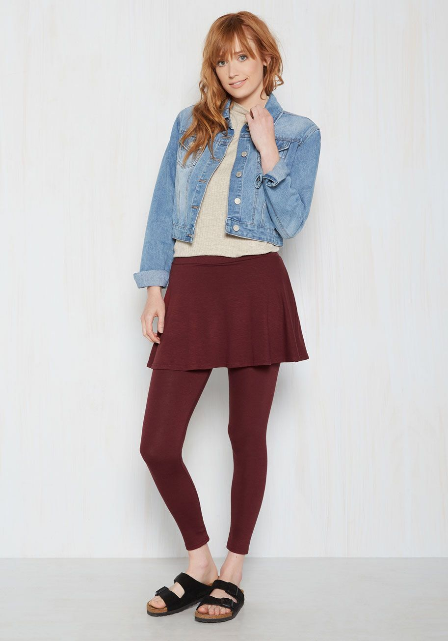 Skirt With the Idea Leggings in Burgundy, #ModCloth