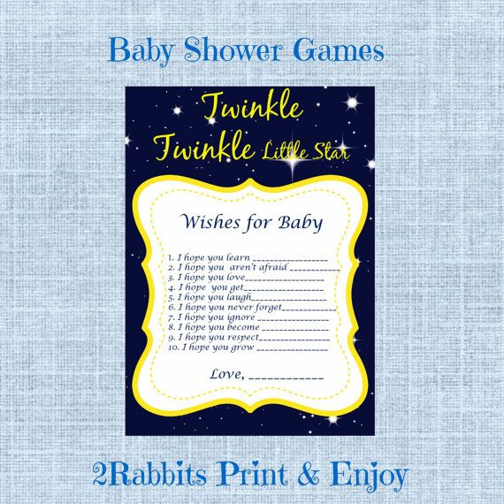 Wishes for Baby- Twinkle Twinkle Little Star Baby Shower - Printable Baby Shower Game Well Wishes for a Baby- Instant Download #twinkletwinklebabyshower #wishesforbaby
