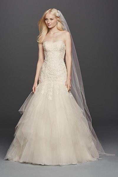 Oleg Cassini Strapless Mermaid Wedding Dress Style CWG737