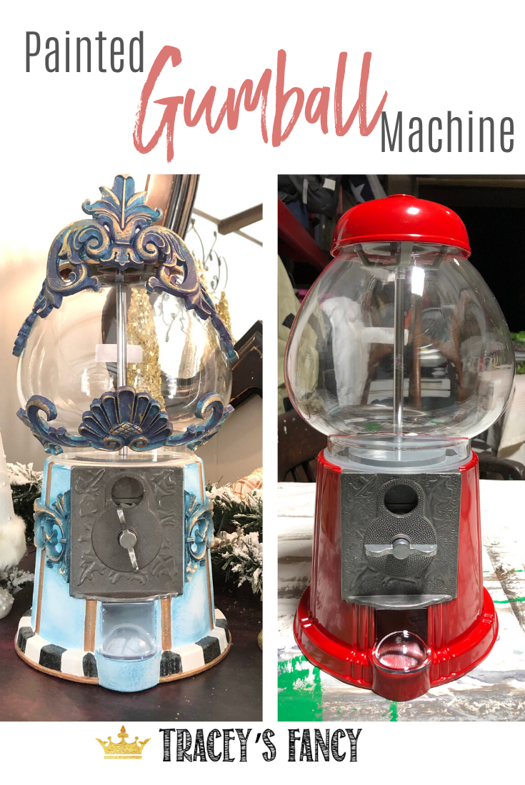 Royal, Whimsical Gumball Machine Makeover #bluepeonies