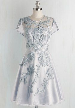 Falling in Lovely Dress. Fall head over heels for this enchanting, icy-blue fit and flare! #blue #prom #wedding #bridesmaid #modcloth