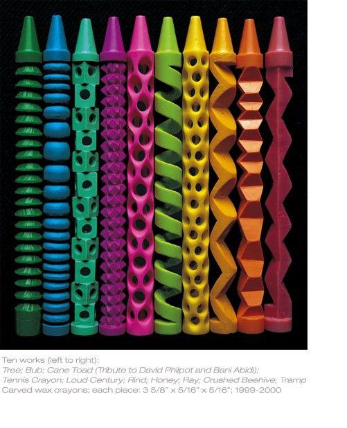 Pete Goldlust carved crayons.  Cool!
