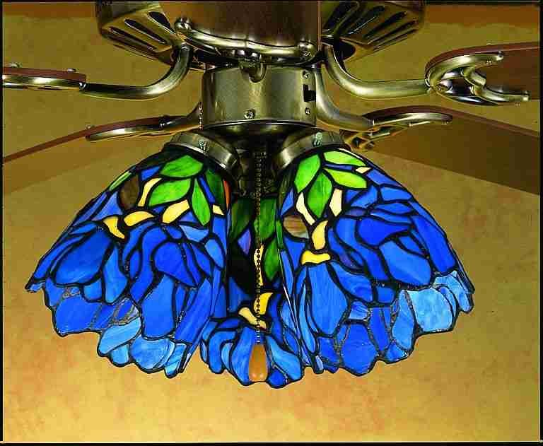 Meyda Lighting 27483 Iris Fan Light Shade Handcrafted. Theme: Tiffany  floral. Light blue and green finish. 5 in. Dia.