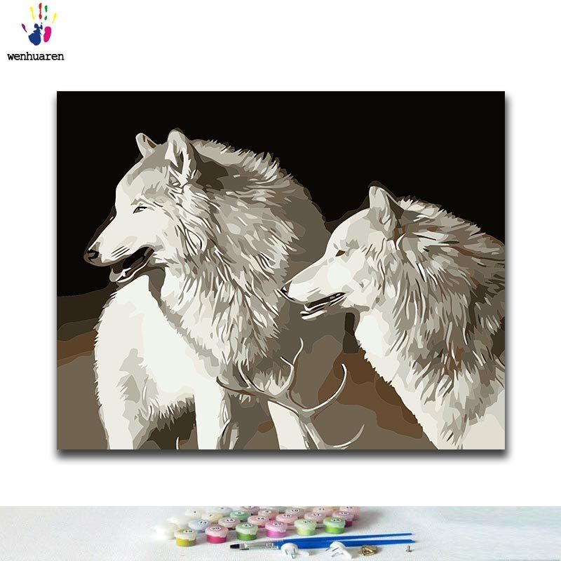 DIY Coloring paint by numbers White wolf paintings by ...