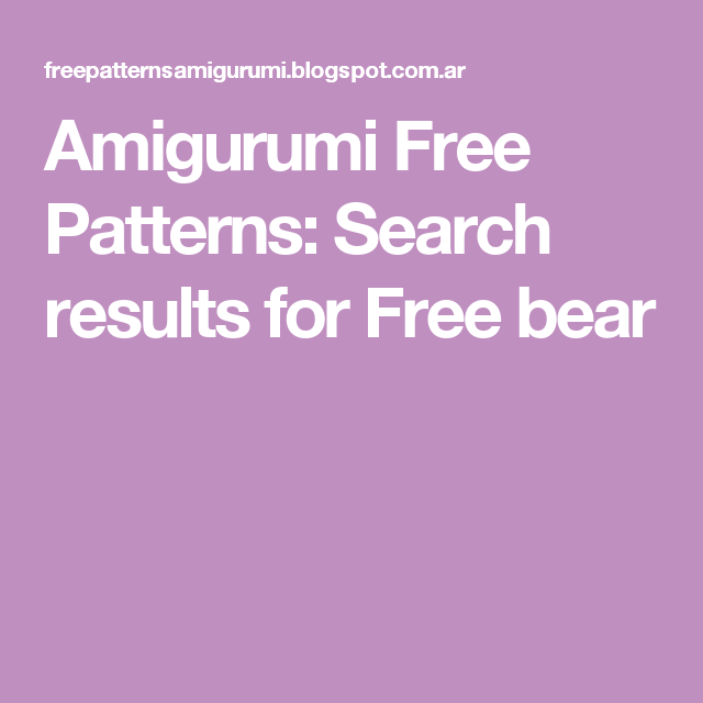 Amigurumi Free Patterns: Search results for Free bear