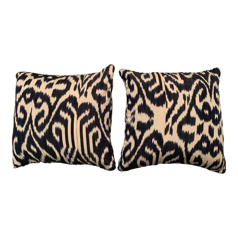 Contemporary Madeline Weinrib Blue Luce Ikat Pillows A Pair