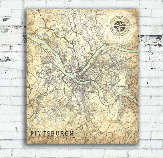 Pittsburgh Pa Canvas Print Pennsylvania Vintage Map Pittsburgh Etsy Map Wall Art Vintage Poster Art Posters Art Prints