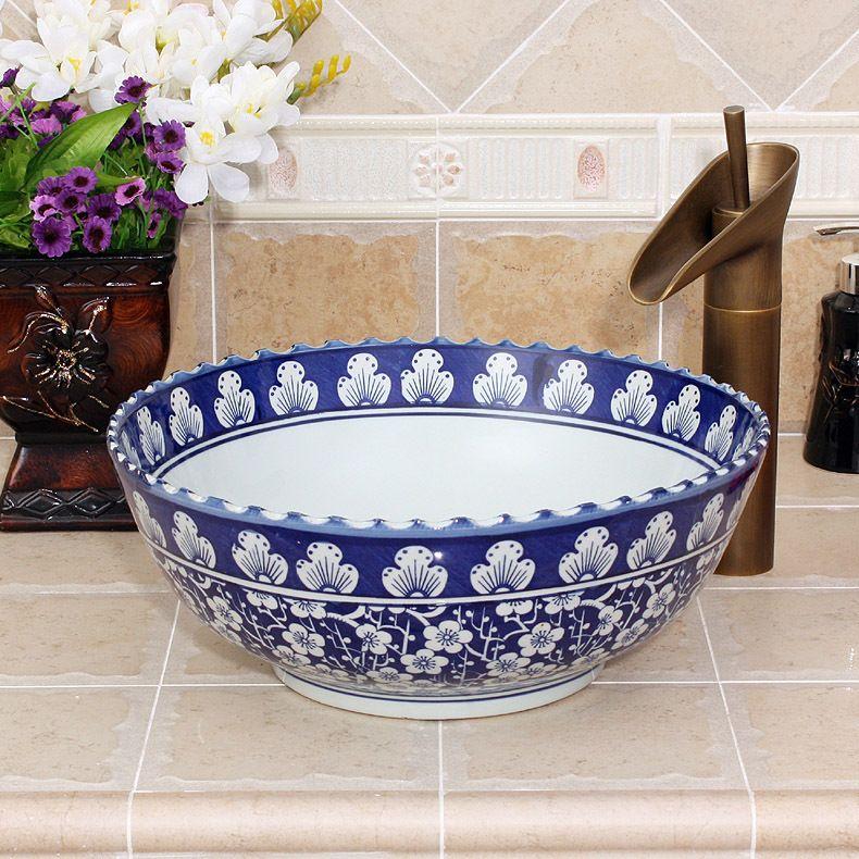 Blu e bianco jingdezhen fabbrica direttamente a mano in ceramica contatore top lavabo in Blu e bianco jingdezhen fabbrica direttamente a mano in ceramica contatore top lavabo da Lavelli da bagno su AliExpress.com | Gruppo Alibaba