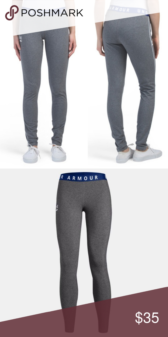 3dc4b7e93f938c Under Armour Favorite Piping Leggings Under Armour Favorite Piping Leggings  in Gray, Blue, and White Bundle and Save! Fitted: Next-to-skin without the  ...
