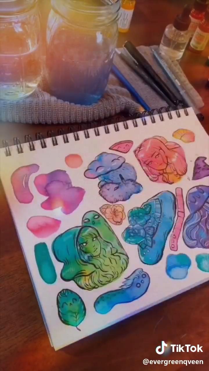 Watercolor Doodle Video Video Watercolor Illustration Artworks Vintage Illustration Art Art