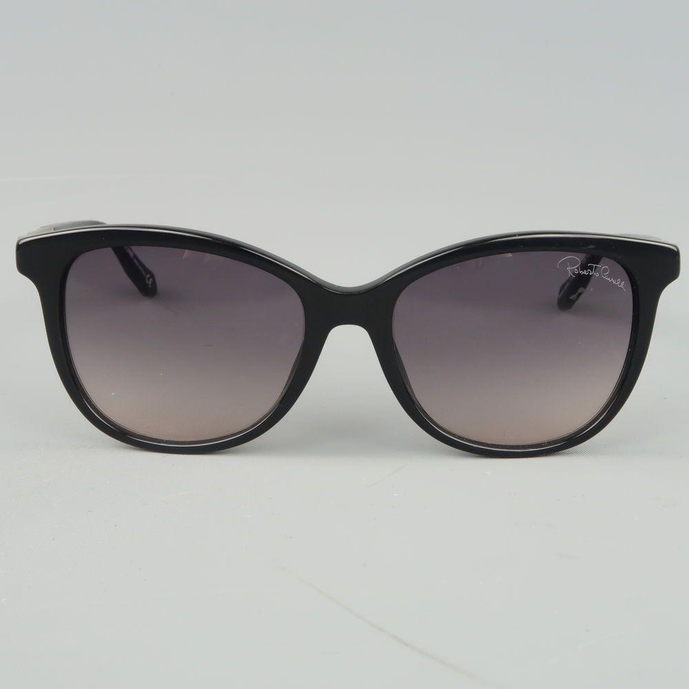 3f42c05cc15 ROBERTO CAVALLI Black Acetate Rhinestone Arm MERAK Sunglasses ...