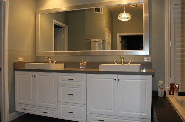 Custom double sink vanity whits cabinets pendents lighting big double sink bathroom mirrors for Custom double sink bathroom vanity