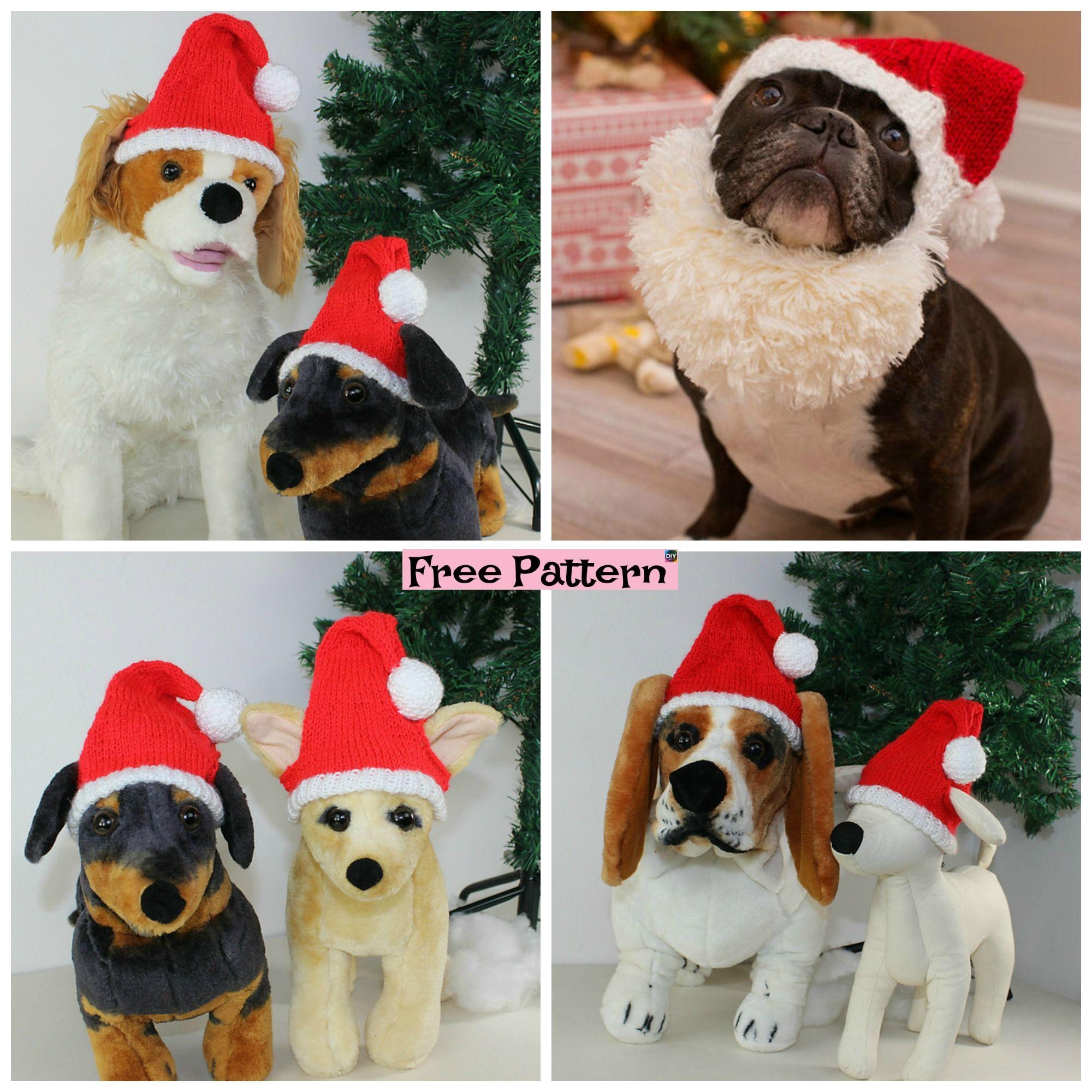 Knit Dog Santa Hat Free Patternt Pets Pinterest Knitting