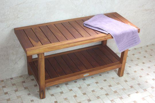 36 Inch Spa Teak Shower Bench With Shelf Teak Shower Bench Shower Bench Teak