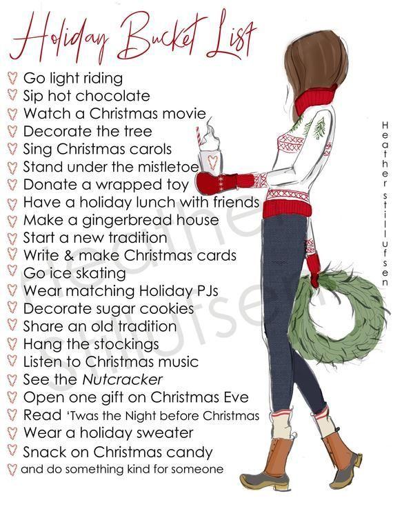Holiday Bucket List  Winter Bucket List  Printable  Heather | Etsy
