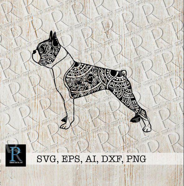 Mandala Boston Terrier SVG Zentangle Boston Terrier SVG