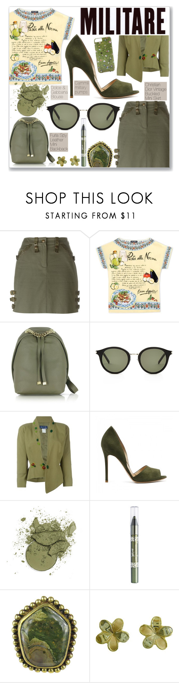 """""""In British They Might Say M-i-l-i-tree"""" by rivlyb ❤ liked on Polyvore featuring Christian Dior, Dolce&Gabbana, Furla, Yves Saint Laurent, Thierry Mugler, Barry M, Stephen Dweck, Lord & Taylor and Gray Malin"""