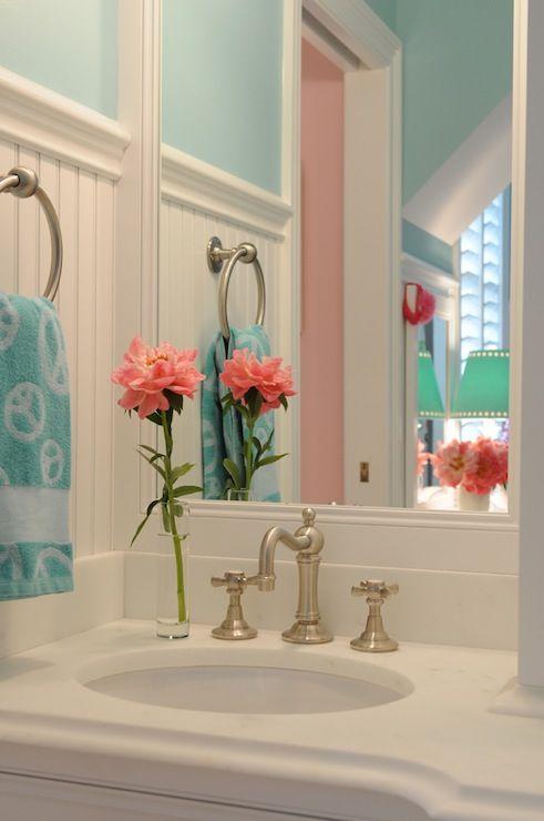 Girl Bathroom Brushed Nickel Faucet Bead Board Sink Turquoise Bathroom Mermaid Bathroom Decor Girls Bathroom